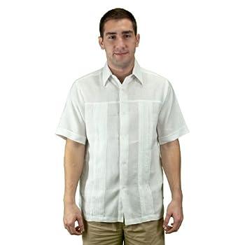 Embroidered linen beach wedding shirt, men, white.
