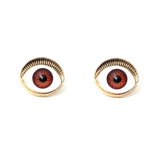 Occult Eye Ball Stud Earrings Brown Gold Vintage Mystic Gothic Evil Nazar Posts Fashion Jewelry