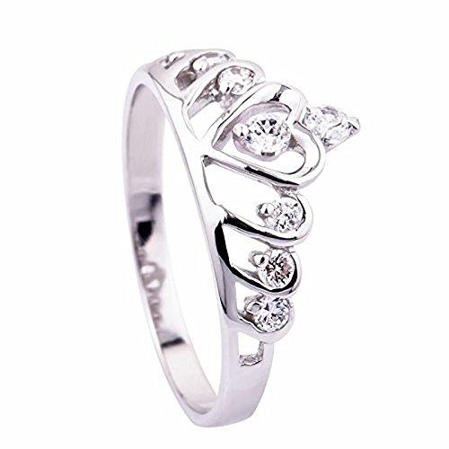Skyllc® Moda Sterling Silver Cuore Princess Crown Wedding Ring