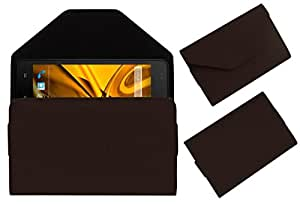 Acm Premium Pouch Case For Karbonn Titanium Dazzle 2 S202 Flip Flap Cover Holder Brown