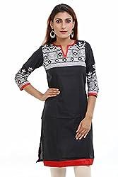Aamii Women's Cotton Kurta(Aamii753_Black_Medium)