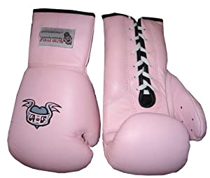 Boxing Gloves Pink Lace Up
