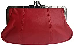 Visnow® 100% Genuine Leather Double-Pocket Change Purse with Clasp (Red)