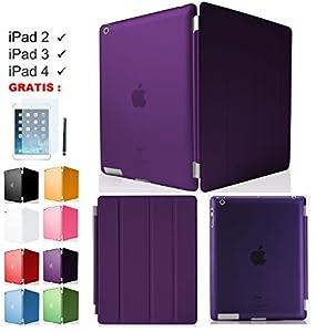 TET®T-LI Premium iPad 4 / iPad 3 / iPad 2 Smart Cover + TPU Back Hülle Cover Case Schutzhülle Etui Tasche (inkl. Touch Pen, Schutzfolie) Magnetisch mit Ständer Unterstützt Sleep / Wake Funktion