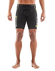 SKINS Men's A400 Compression Power Shorts, Black/Yellow Logo Line, X-Small