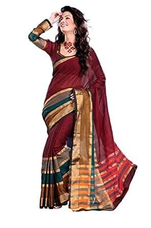 ISHIN Cotton Multicolor Sarees Hansini available at Amazon for Rs.999