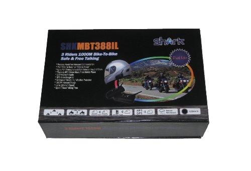 Shark Shklxmbt388Il Motorcycle Snowmobile Bluetooth Multi Interphone Headsets 3 Riders Bluetooth Intercom - Set