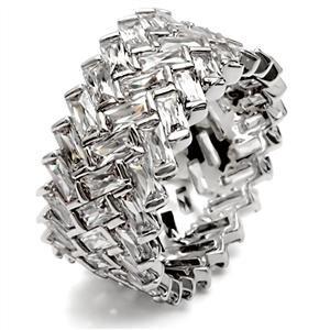 Silver Plated Zig Zag Cubic Zirconia Baguette Eternity Band SZ 6