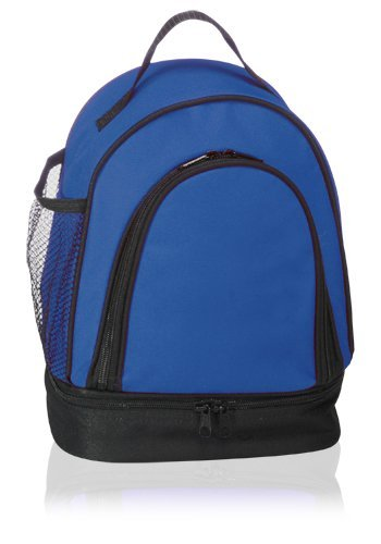 Double Compartment Insulated Lunch Bag Cooler Durable Nylon, Blue by BAGS FOR LESSTM - 1
