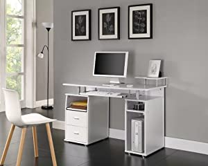 Computer Desk Home Office Furniture Pc Table White Next Day Delivery Kitchen Home