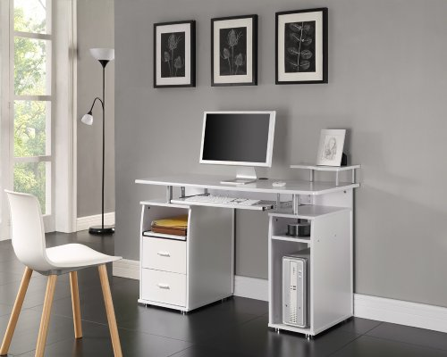 COMPUTER DESK HOME OFFICE FURNITURE PC TABLE WHITE - NEXT DAY DELIVERY