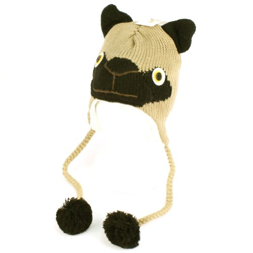 Knitting Pattern For Pug Hat : Winter Knit Pug Dog Puppy Animal Trooper Trapper Lined Ski Pom Pom with Tail ...