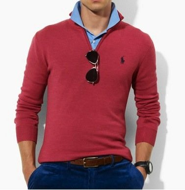 Polo Ralph Lauren Mens Cotton Half Zip Jumper Sweater in Off Red (XX-Large-BIG)