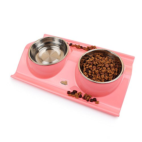 Geekercity Fashion Elegant Durable Stainless Steel Dog Cat Double Diner Bowl Animal Food Bowls Kitten Cat Food Dish Pet Bowls Feeder Animal Supplies (Pink) (Double Food Dish compare prices)