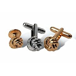 Geoffrey Beene Love Knot Cufflink & Stud set in Gold or Silver