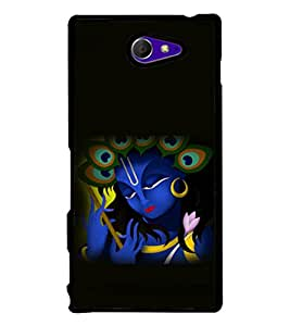 printtech Lord God Krishna Small Design Back Case Cover for Sony Xperia M2 Dual D2302 , Sony Xperia M2