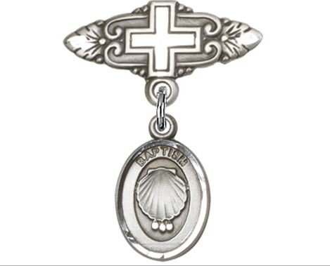 Sterling Silver Baby Badge With Baptism Charm And Badge Pin With Cross- Boxed