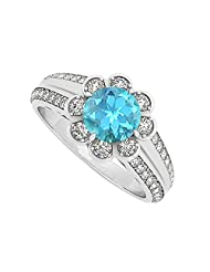 Fancy Created Blue Topaz And Cubic Zirconia Fashion Floral Ring In 925 Sterling Silver 1.50 CT T