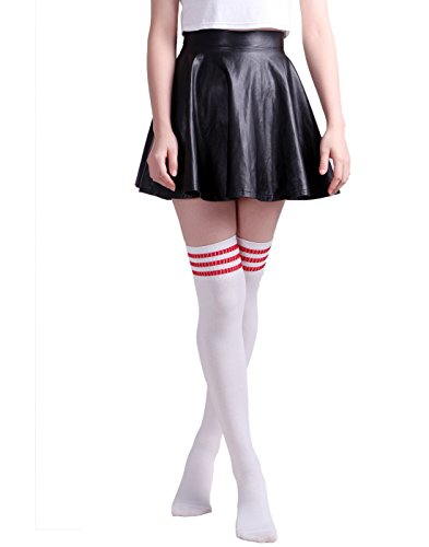 21da63f2e7d Unisex Extra Long Thigh High Stripe Referee Athletic Soccer Rugby Football  Socks (White red) - Buy Online in Oman.
