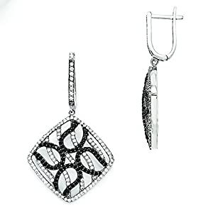 Sterling Silver & Cz Brilliant Embers Square Dangle Hinged Hoop Earrings