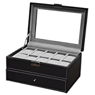 Watch Box Large 20 Mens Black Leather…