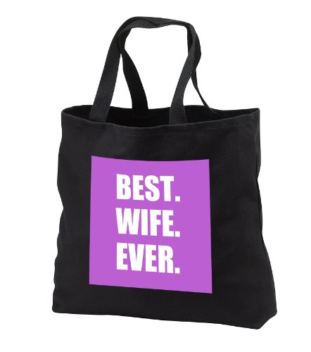 Tb_179737_1 Inspirationzstore Typography - Purple Best Wife Ever - Bold Anniversary Valentines Day Gift For Her - Tote Bags - Black Tote Bag 14W X 14H X 3D