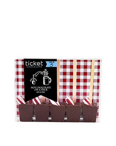 Ticket Chocolate Set of 5 Peppermint Hot Chocolate on a Stick