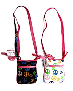Expressions Girl / Peace Symbol Mini Cross-Body Bag, One Assorted Black or White from Almar Sales Company