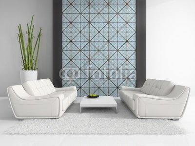 Wallmonkeys Peel and Stick Wall Decals - Modern Interior with Two White Sofas - 24