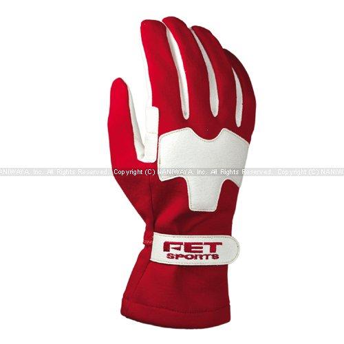 FETsports/エフイーティースポーツ 3D ライトウエイトグラブ レーシンググローブ レッド×ホワイト Lサイズ