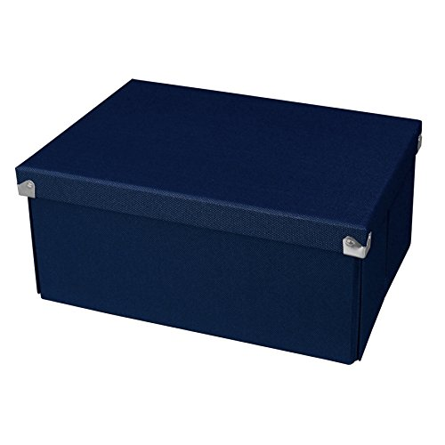 Pop n' Store Decorative Storage Box with Lid - Collapsible and Stackable - Medium Document Box - Navy Blue - Interior Size (12