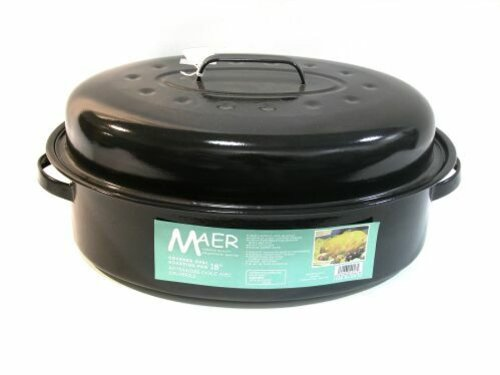 Maer Enamel 18-inch Oval Roaster With Lid (Blue Speckled Roasting Pan compare prices)