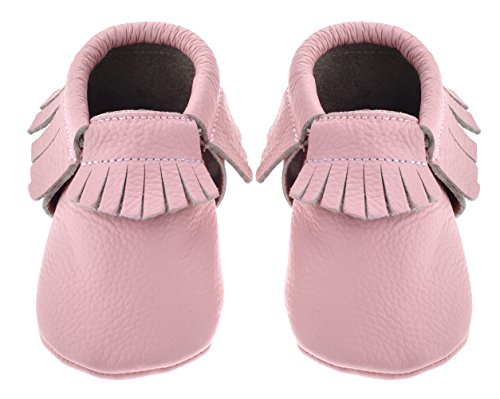 Sayoyo Baby Pink Tassels Soft Sole Leather Infant Toddler Prewalker Shoes (18-24 months, Pink)
