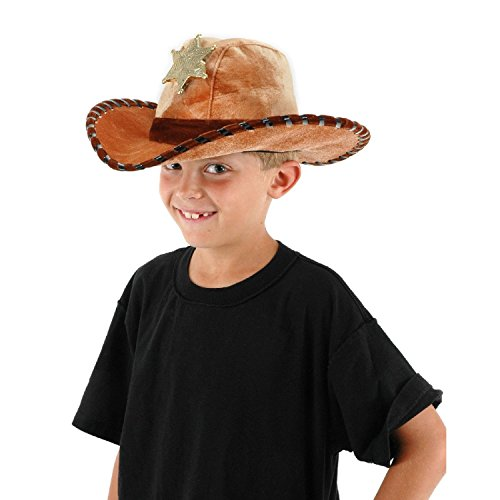 Child Sheriff Hat Youth Costume Cowboy Cowgirl Velvet Trooper Badge Woody