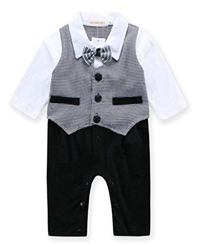 Minetom Bambino Ragazzi Autunno Primavera Gentleman Gilet Manica Lunga Pagliaccetto Bodysuits Grigio Cravatta 80