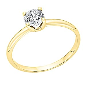 GIA Certified 14k yellow-gold Round Cut Diamond Engagement Ring (0.72 cttw, F Color, SI1 Clarity)
