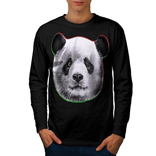 cracked-wood-panda-timber-style-men-new-black-xl-long-sleeve-t-shirt-wellcoda