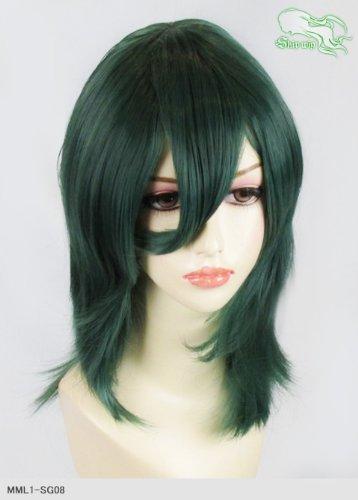 スキップウィッグ 魅せる シャープ 小顔に特化したコスプレアレンジウィッグ フェザーミディ ダークグリーン