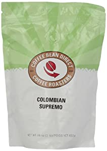 Coffee Bean Direct Colombian Supremo, Whole Bean Coffee, 16-Ounce Bags (Pack of 3)