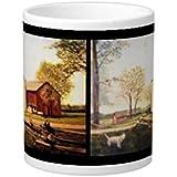 louDEING Barn With Dog Painting 20 Oz Large Ceramic Coffee Mug