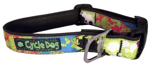 Cycle Dog Bottle Opener Recycled Dog Collar, Green, Base Paint Splatter, Large