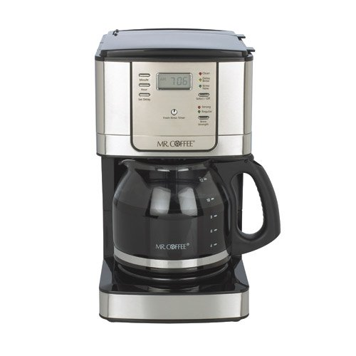Mr. Coffee 12-Cup Programmable Coffeemaker JWX31BP, Black/Brushed Stainless Steel