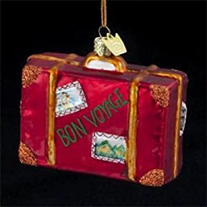"Pack of 8 Novelty Glass Traveler's Suitcase ""Bon Voyage"" Christmas Ornaments"