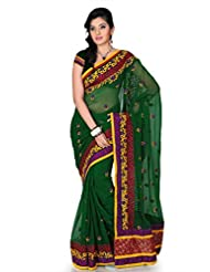 Designersareez Women Chiffon Embroidered Deep Green Saree With Unstitched Blouse(1192)