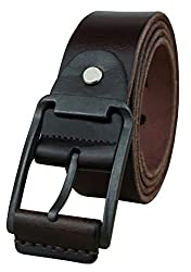 Heepliday Men's Unique Buckles Leather Belt XX-Large (38-40) Coffee