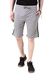 Aventura Outfitters Single Jersey Shorts Grey Melange with Sky Blue & Black Stripes - L (AOSJSH317-L)