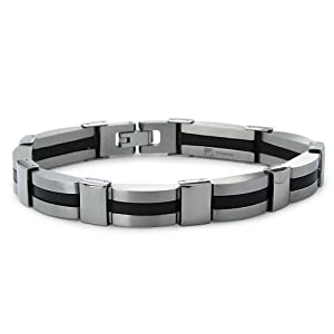 Titanium and Rubber Inlay Men's Link Bracelet 11mm Wide 8.5 Inches