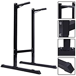 Dipping Station Pull Push Up Stand Dip Bar Fitness Exercise Workout 440 LB - Get An Intense Upper Body Workout From The Comfort Of Your Own - Heavy Duty Iron Construction For Study And Durable