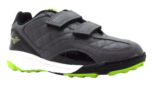 Boy's Post Velcro Gola Grey & Lime Quilted Football Trainers