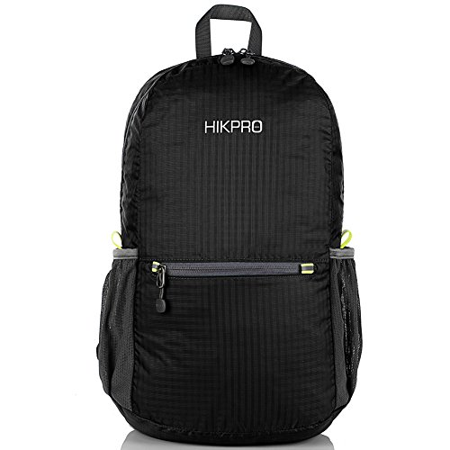 HIKPRO Unisex Ultralight Handy Packable Backpack, Black, 6.5 Oz (Collapsible Cooler Waterproof compare prices)